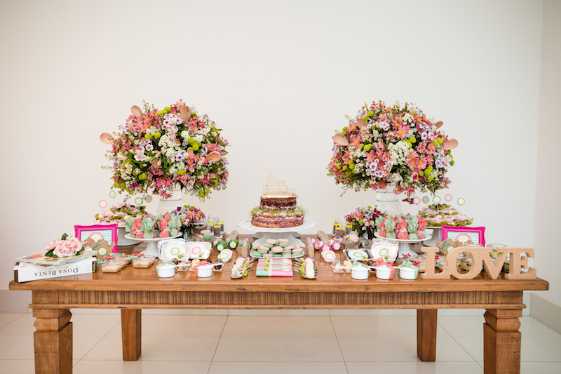 decoração de chá de panela verde e rosa (1)