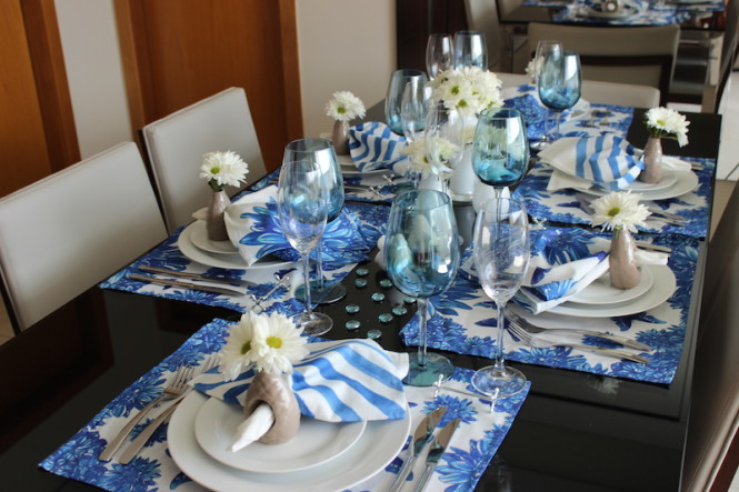 Decora??o de mesa para almo?o - Azul e Branco - Vida de Casada