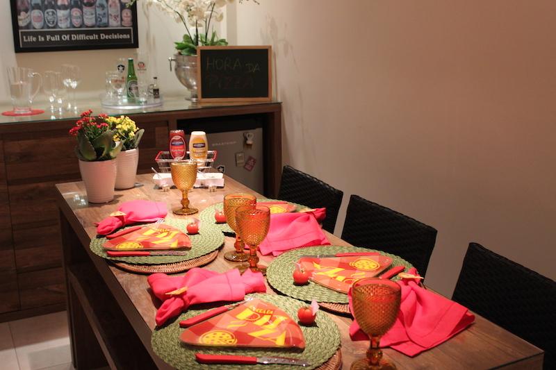decoração de mesa de pizza