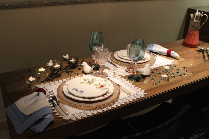 decoração de mesa 3 anos de casados