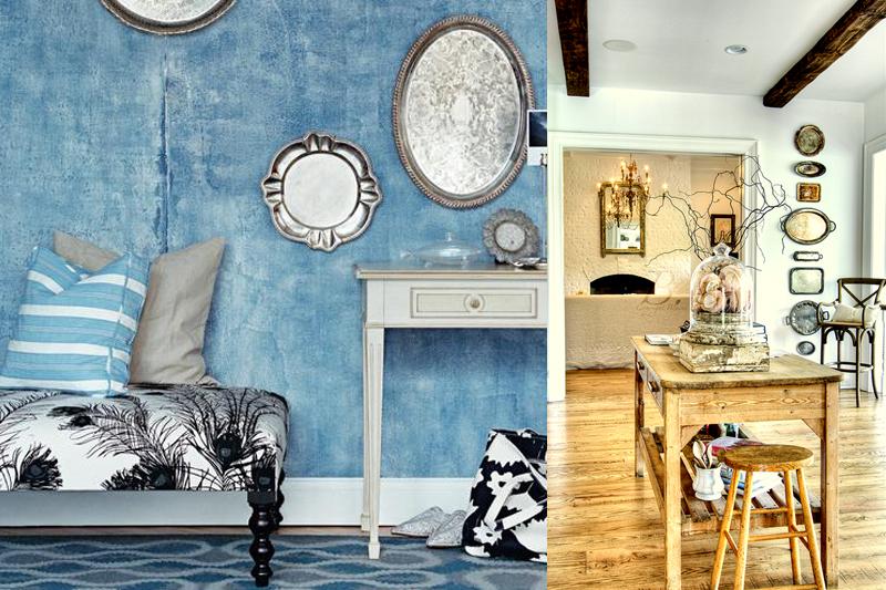 bandejas de prata como decoracao de sala
