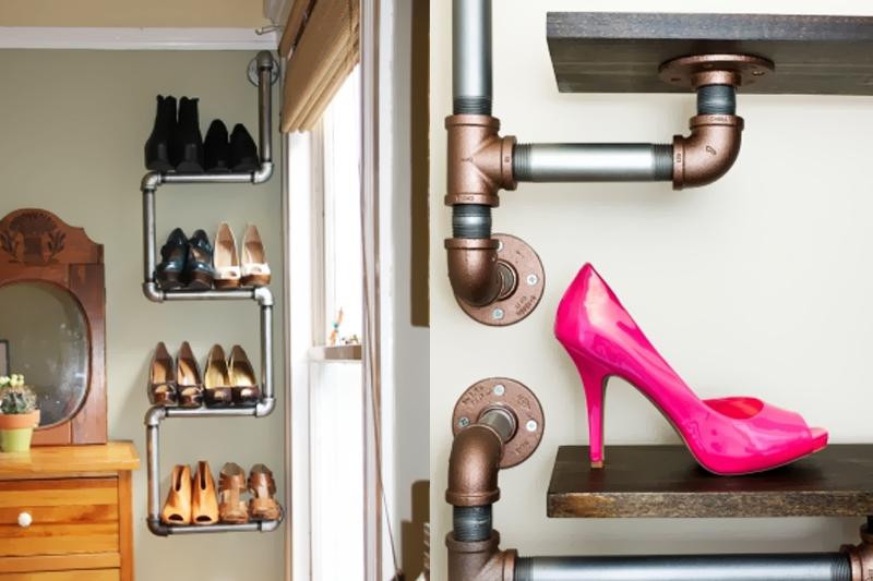 canos de ferro organizar sapatos