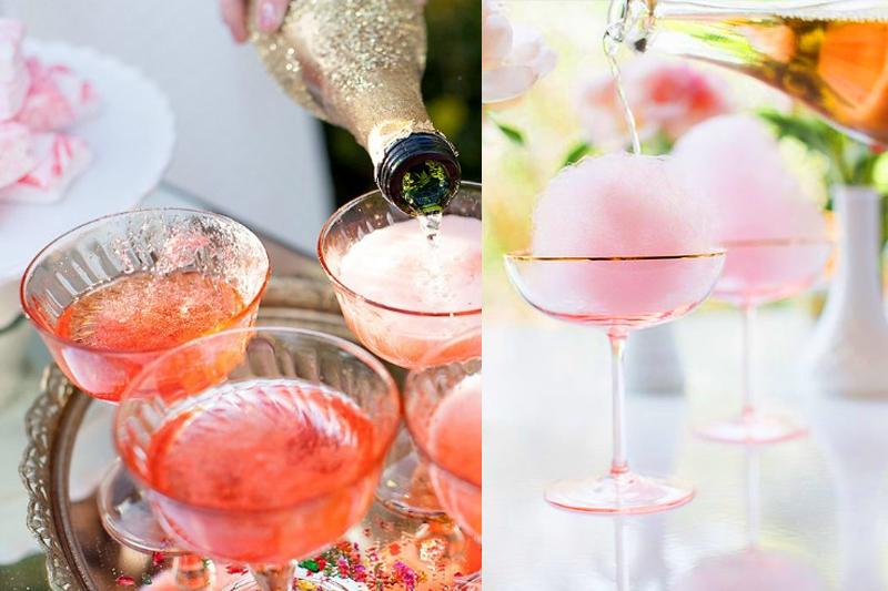 drink de champagne com algodao doce