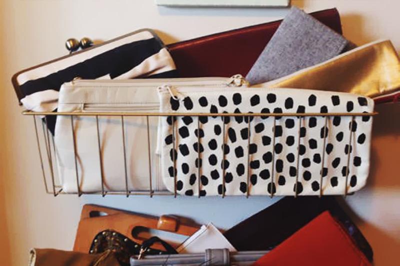 cestas de metal para bolsas