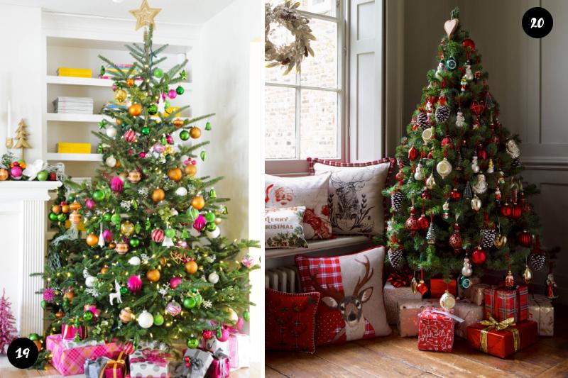 Arvores de Natal tradicionais com decoracoes criativas