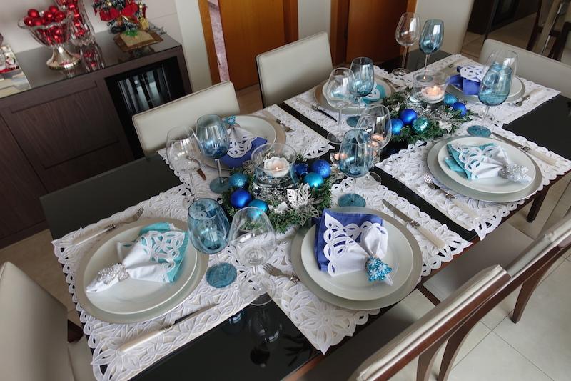 Decoracao de mesa de natal azulJPG