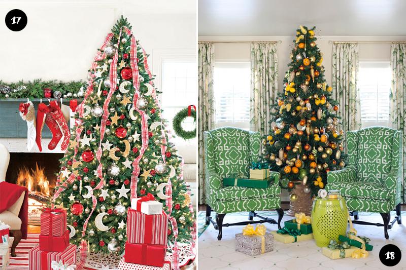 Diferentes decoracoes de Arvores de Natal