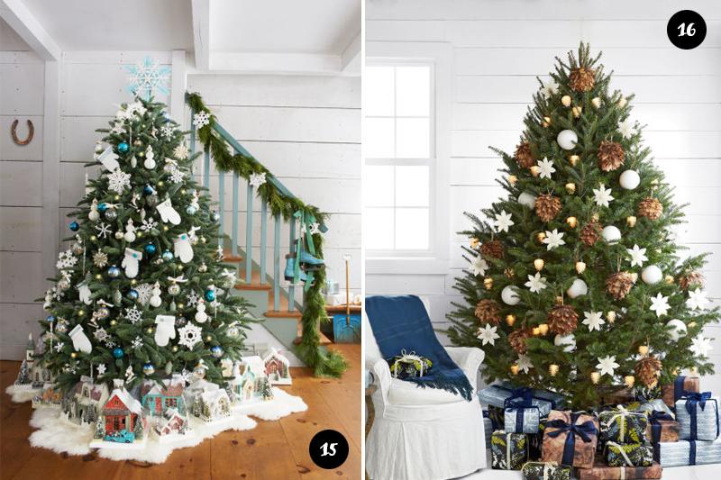 arvores de Natal com decoracoes claras