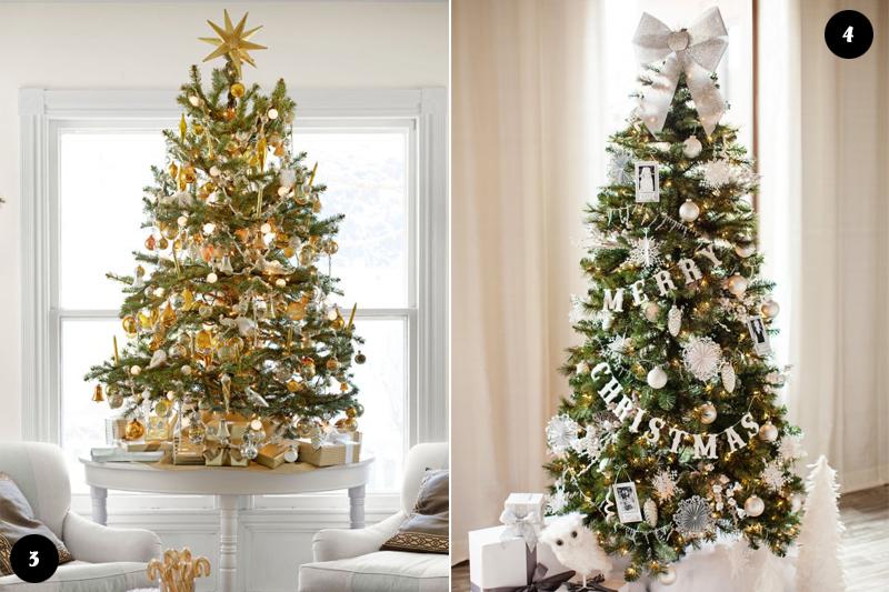arvores de natal com branco e dourado
