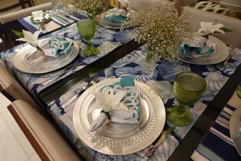 decoracao azul e verde