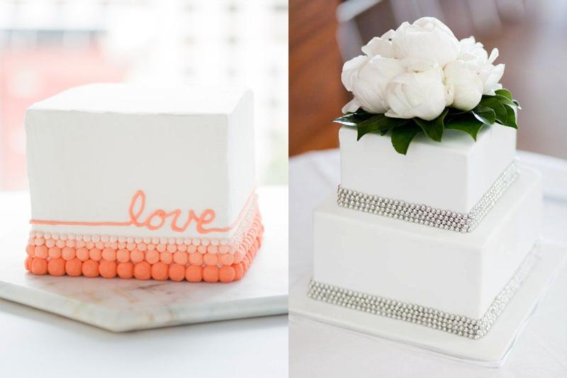 bolos de casamento quadrados e pequenos