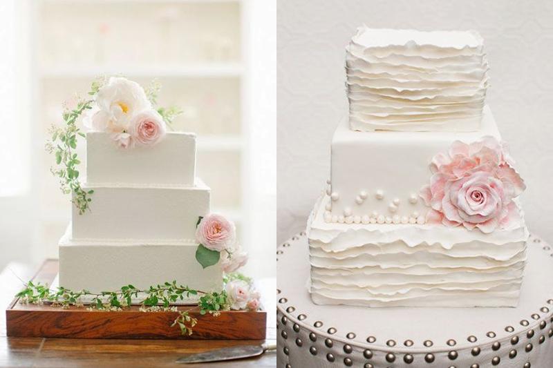 bolos de casamento quadrados e simples