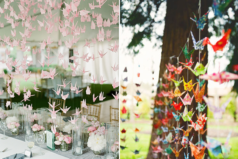 decoracao de festa de casamento simples passaros de origami