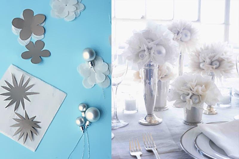 decoracao de mesa de casamento simples flores de papel
