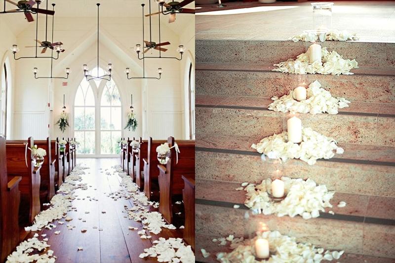 decoracao para casamento simples na igreja petalas