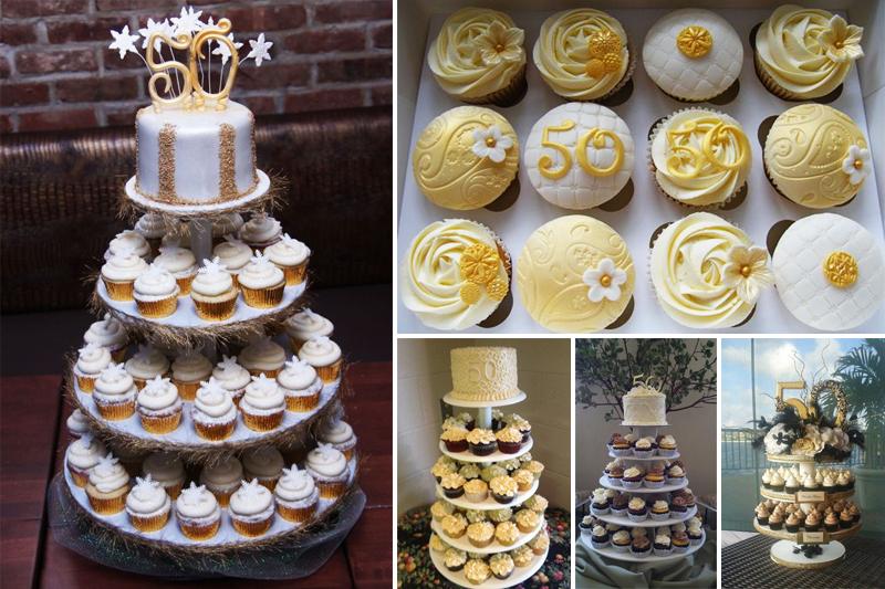 bolo de bodas de ouro com cupcakes