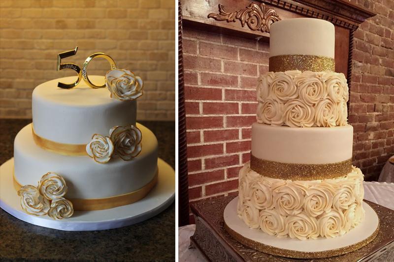 bolo de bodas de ouro com flores na decoracao