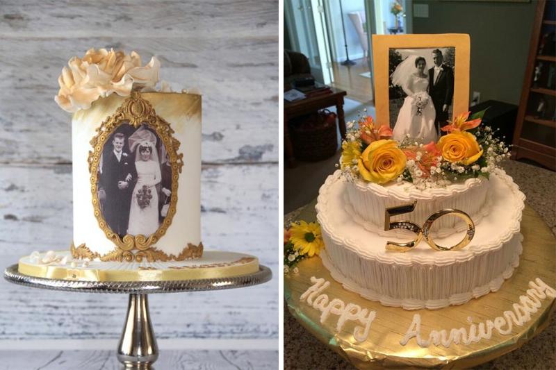 bolo de bodas de ouro com fotos