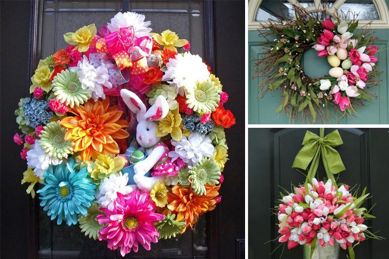 ideias de guirlandas de pascoa com flores