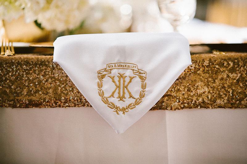 presentes bodas de ouro guardanapo de tecido personalizado