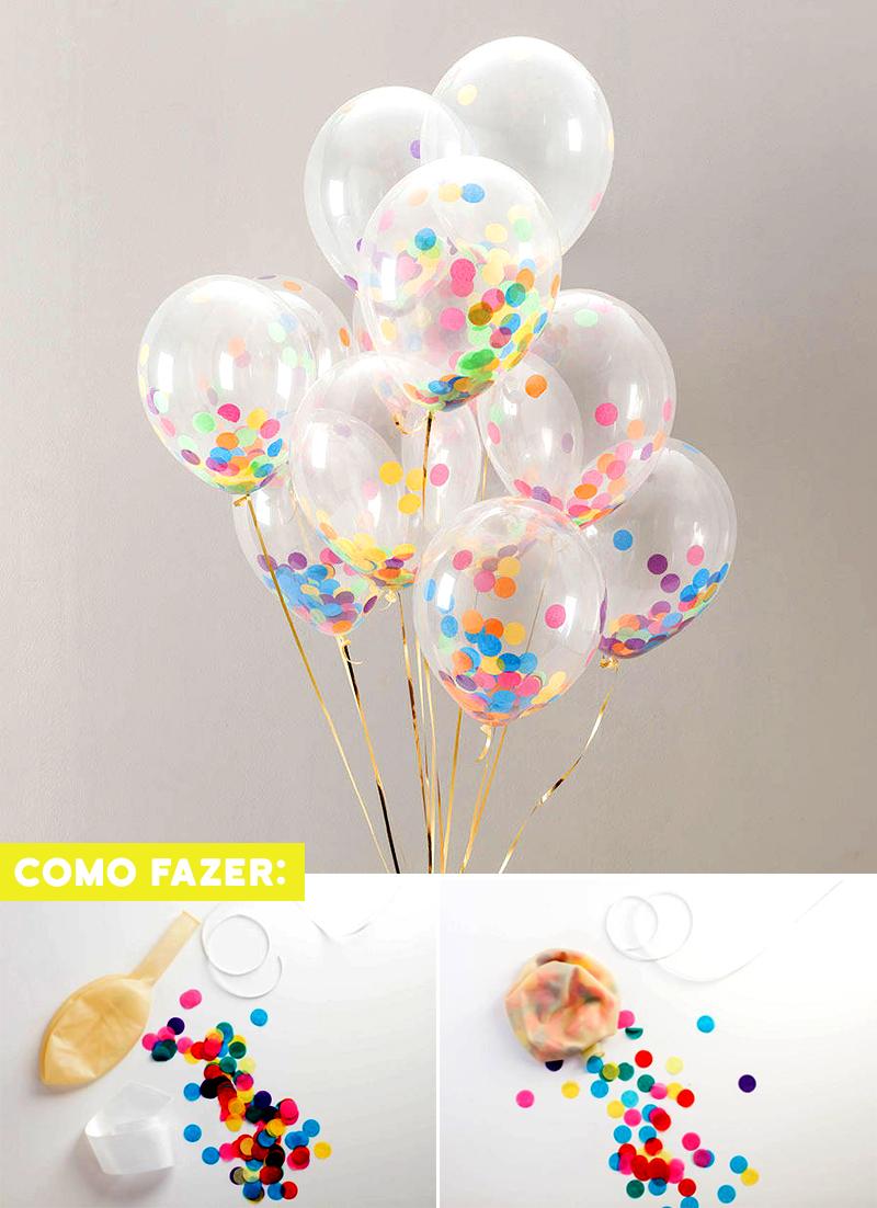 DIY Enfeite de aniversario simples balao com confete