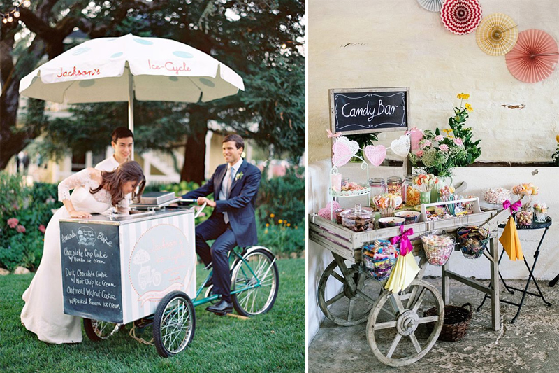 carrinhos com picole e doces para casamento