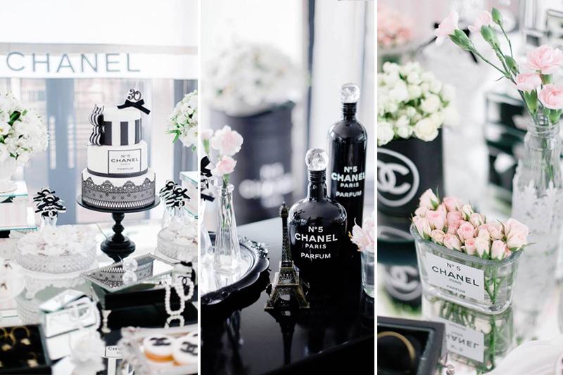 decoracao de aniversario monocromatica Chanel