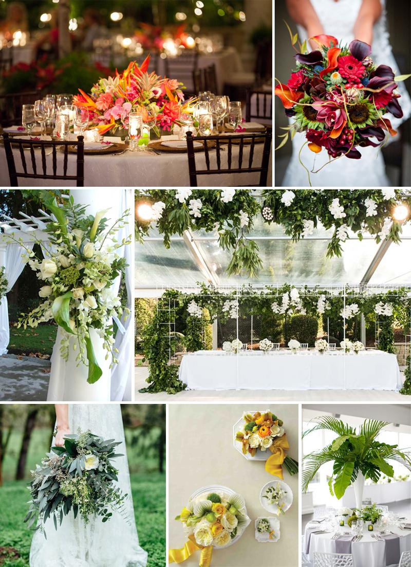 flores exoticas e folhagem para casamento