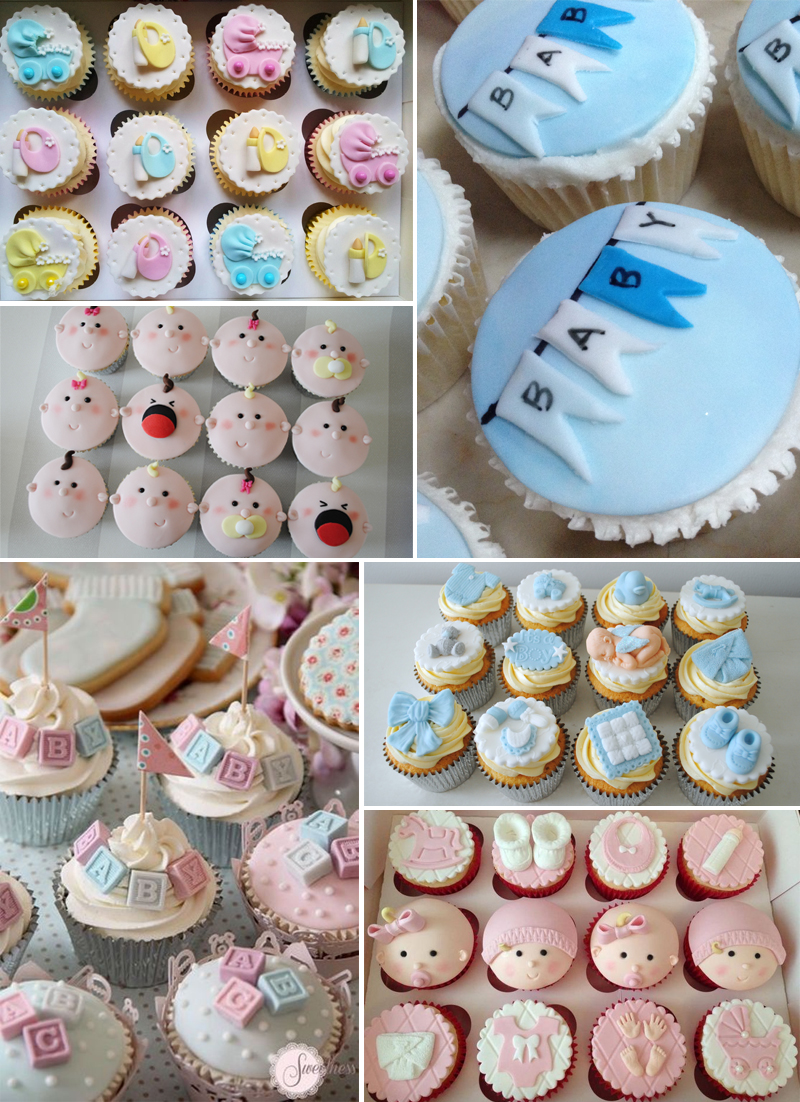 decoracao de cha de bebe cupcakes tematicos