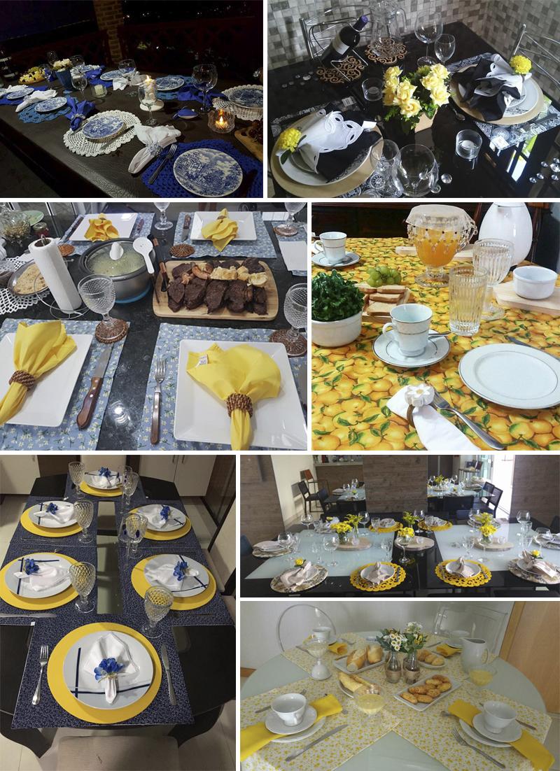 mesa posta azul e amarela alunas curso vida de casada