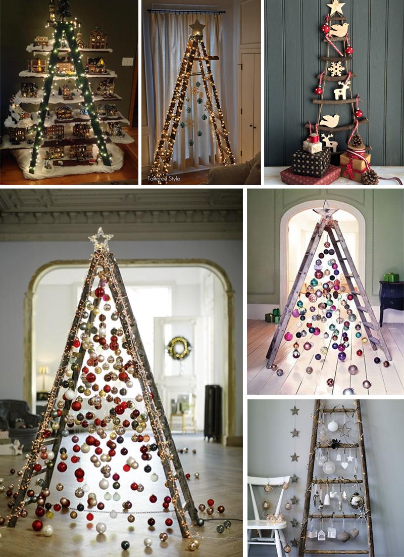 decoracao de natal simples arvores de escada