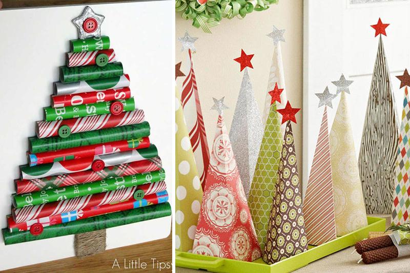 decoracao de natal simples arvores de papel de presente