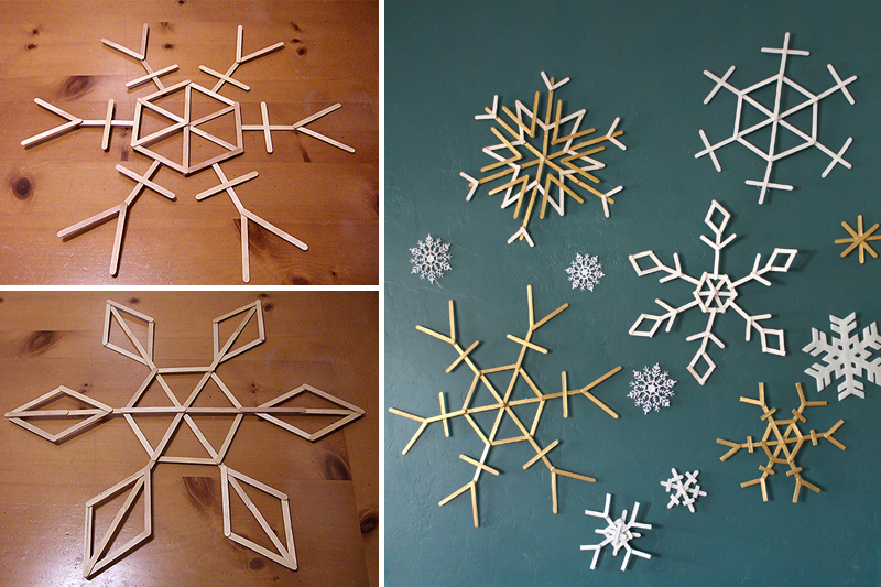 decoracao de natal simples flocos de neve de palito de picole