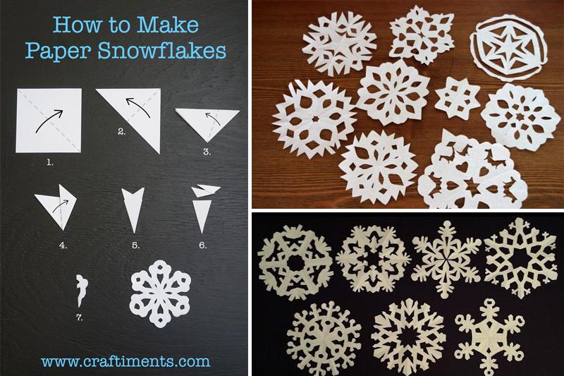 decoracao de natal simples flocos de neve de papel