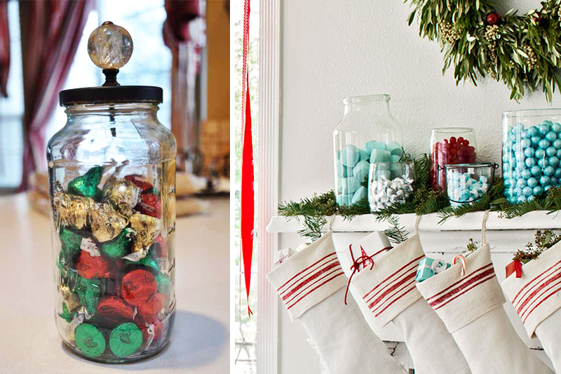 decoracao de natal simples jarras com doces