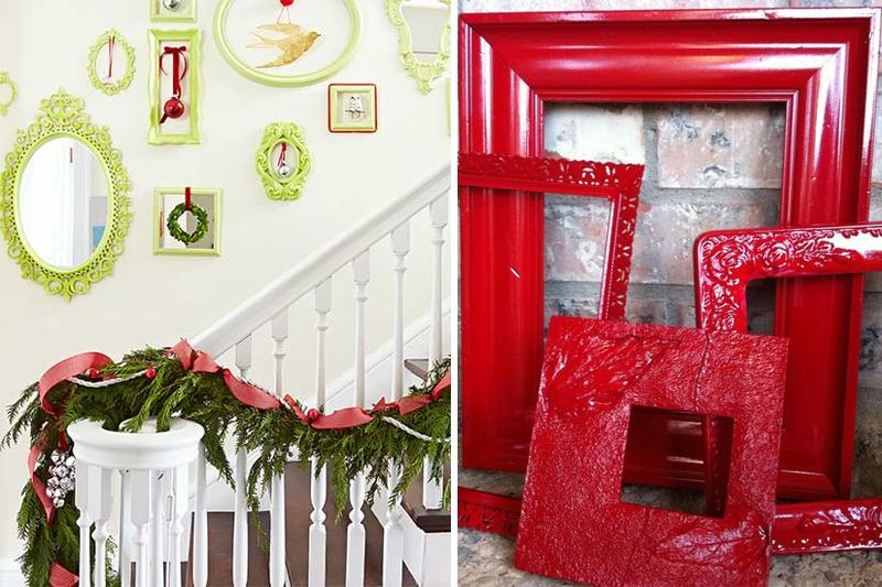 decoracao de natal simples molduras coloridas