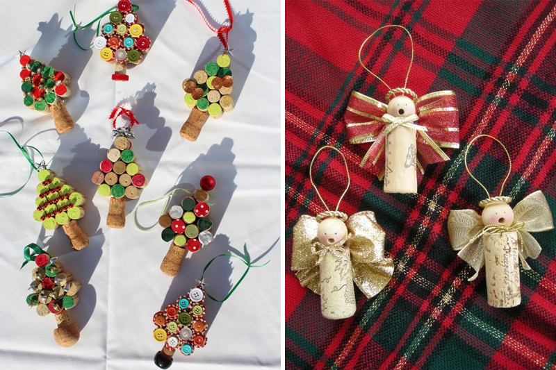 decoracao de natal simples ornamentos com rolhas de vinho