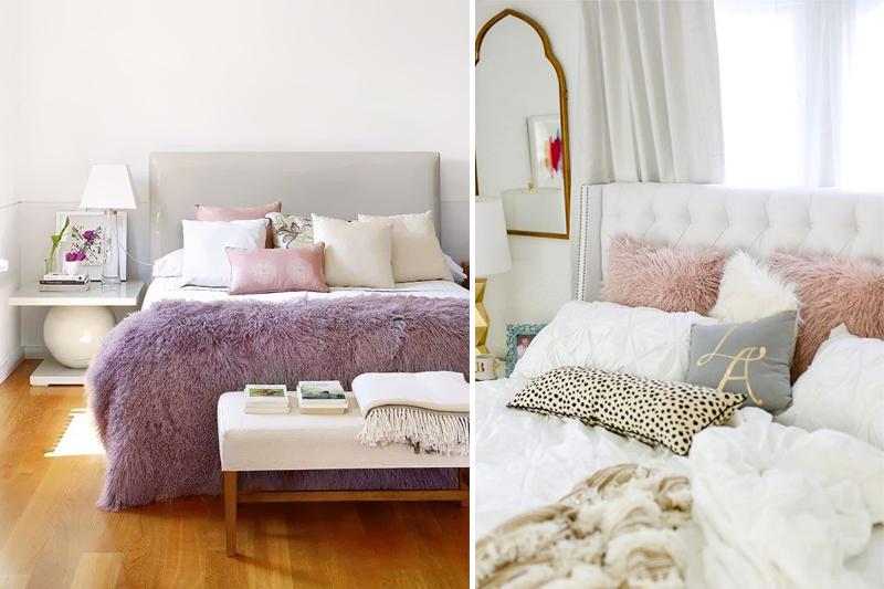 almofadas delicadas e femininas para quarto