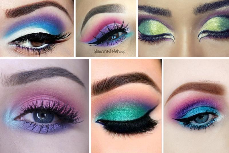 maquiagem para carnaval colorida com cores frias