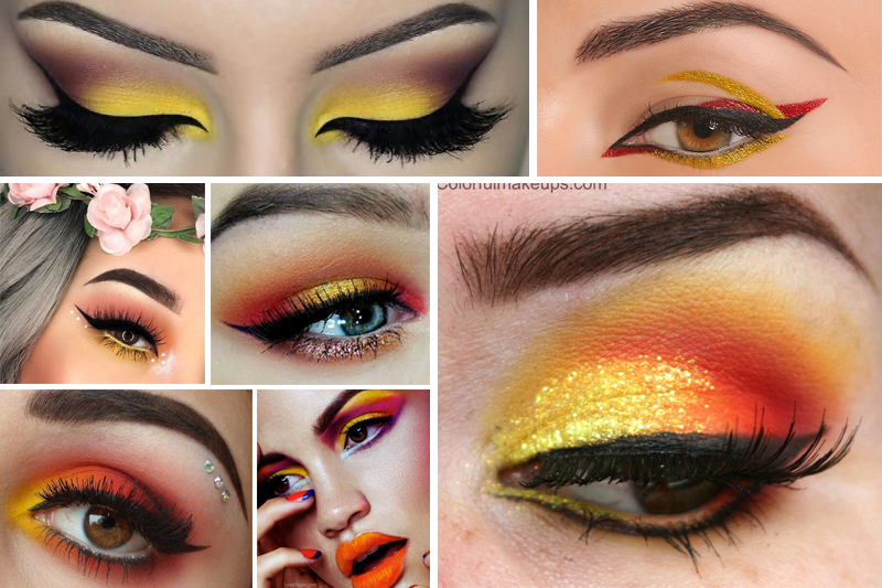 maquiagem para carnaval colorida com cores quentes