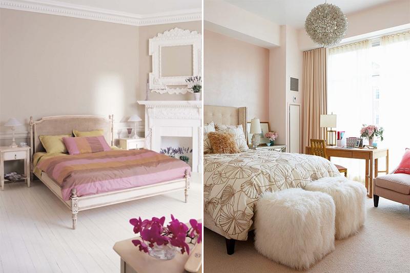 quarto com palheta de cores feminina e tons pasteis