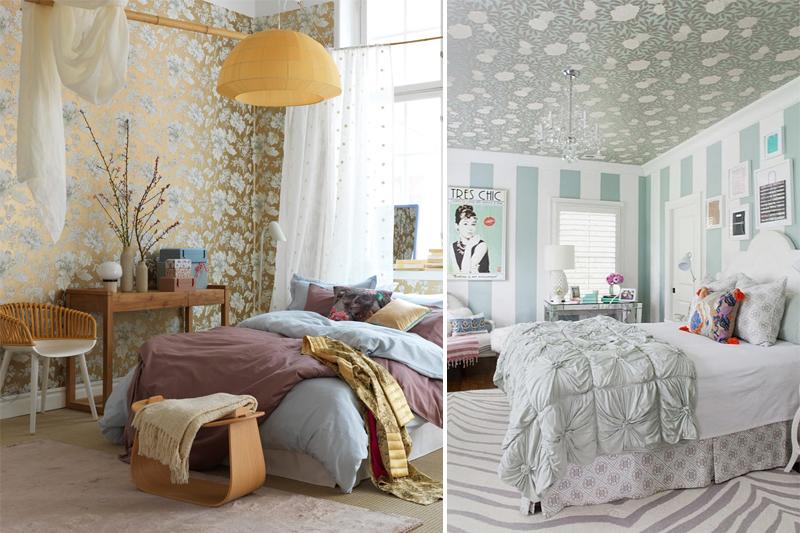 quartos com decoracao feminina e papel de parede floral
