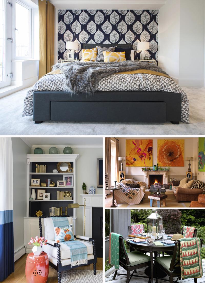 mantas em cadeiras, cama e sofas