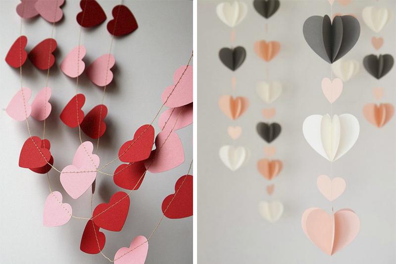 coracoes de papel decoracao de dia dos namorados