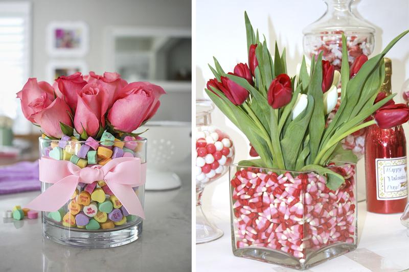vaso com flores e doces decoracao de dia dos namorados