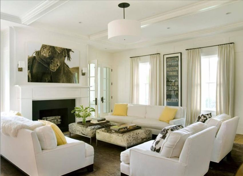 Modern Home Living Room Furniture Decor Ideas  With White Sofa Sets And Yellow Accent Throw Pillows Also White Fireplace Mantel And Brown Area Rugs