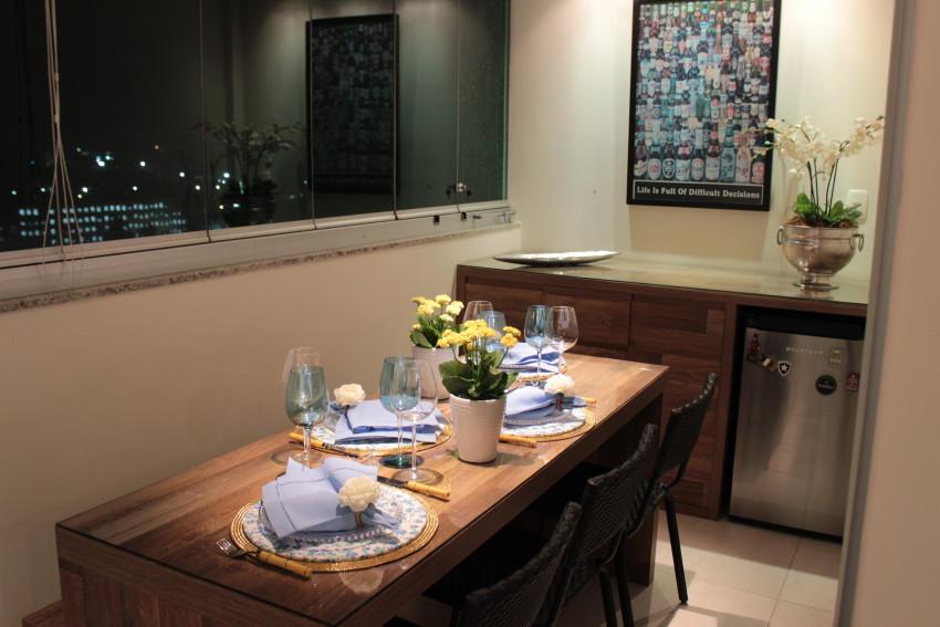 Mesa Posta Para Um Jantar Azul E Amarelo Vida De Casada