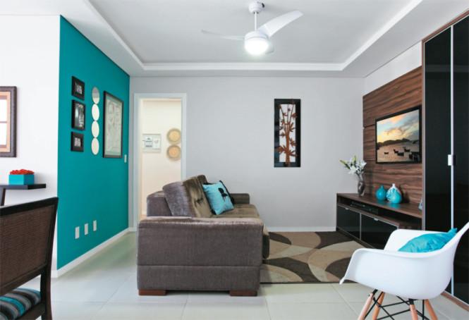 Sala de Estar com parede pintada