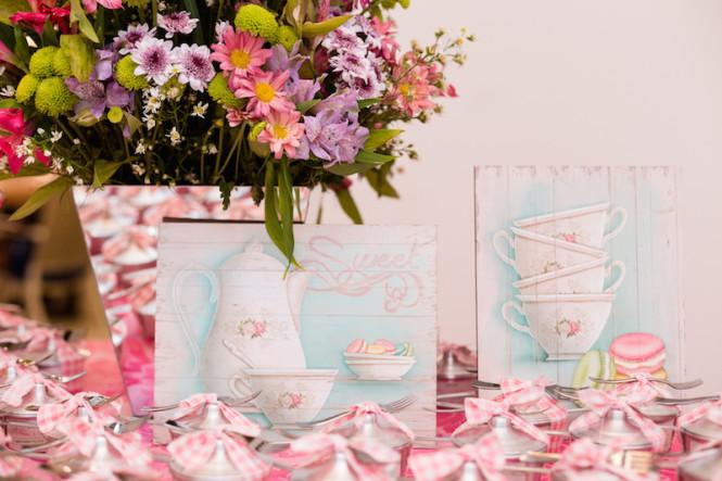 decoração de chá de panela verde e rosa (58)