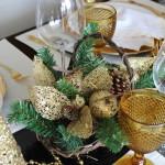 Decoração de Mesa de Natal – Dourada e Branca